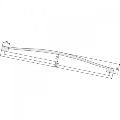 Ручка-скоба 320мм, отделка сталь вороненая шлифованная U12964.N50S
