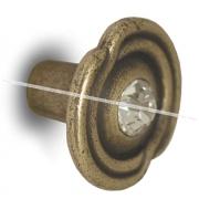 Ручка-кнопка D31мм бронза состаренная с кристаллами Сваровски 2044K.23