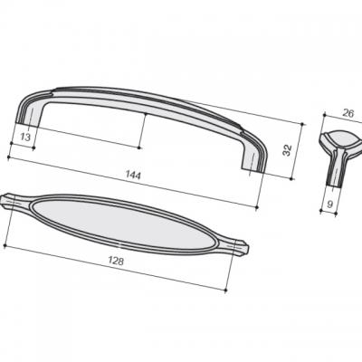 Ручка–скоба 128мм, отделка медь античная + керамика M55X.07.E5.M27G