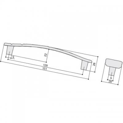 Ручка-скоба 128мм, отделка белый глянцевый WMN.721X.128.M00M2