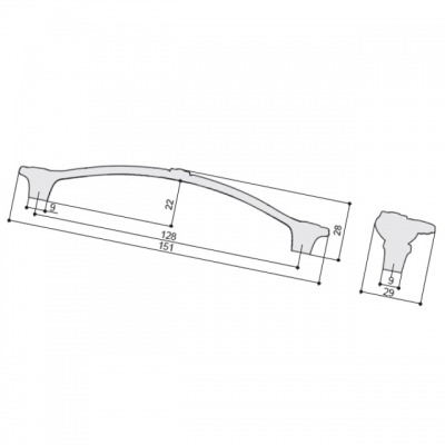 """Ручка-скоба 128мм, отделка бронза античная """"Флоренция"""" WMN.748X.128.M00D1"""