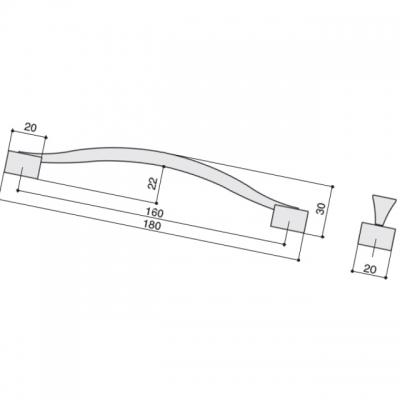 Ручка-скоба 160мм, отделка сталь вороненая шлифованная U12964.G50S