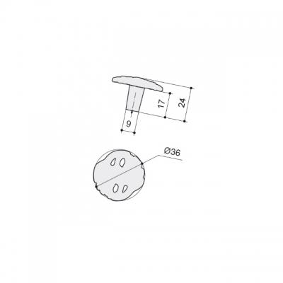 Ручка-кнопка, отделка бронза металлик WPO.712Y.000.M00G3