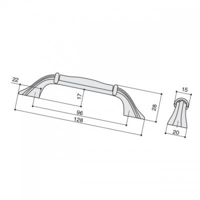 Ручка-скоба 96мм, отделка серебро винтаж + керамика M70.X00.00.MT4G