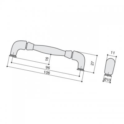 Ручка-скоба 96мм, отделка никель античный HN-M-3805-96-NP