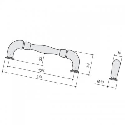Ручка-скоба 128мм, отделка бронза античная HN-M-3805-128-AF