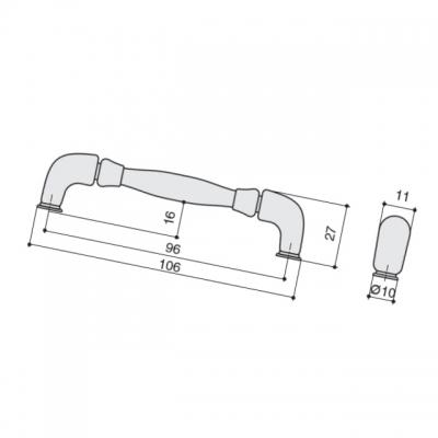 Ручка-скоба 96мм, отделка бронза античная HN-M-3805-96-AF