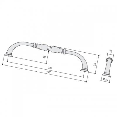 Ручка-скоба 128мм, отделка никель античный HN-M-3943-128-NP