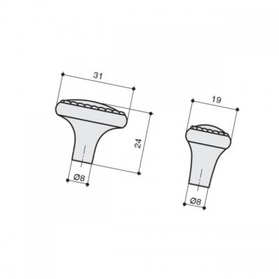 Ручка-кнопка 32х20, отделка никель античный KB-M-3944-32-NP