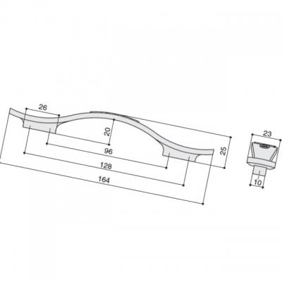 Ручка-скоба 128-096мм, отделка серебро античное 8.1143.128096.17N