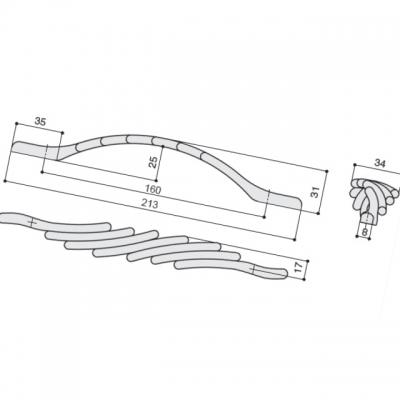 Ручка-скоба 160мм, отделка хром глянец 12973.G260
