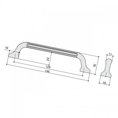 Ручка-скоба 128мм, отделка сталь шлифованная S536360128-66