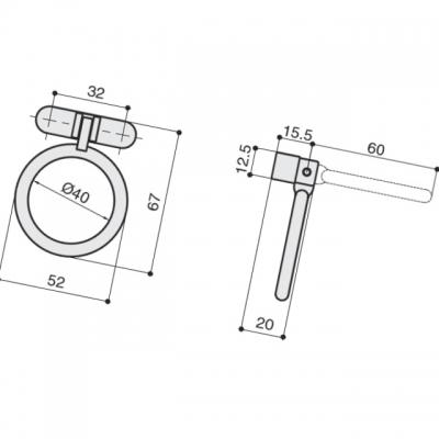 Ручка-серьга 32мм, отделка бронза античная темная S529860032-23