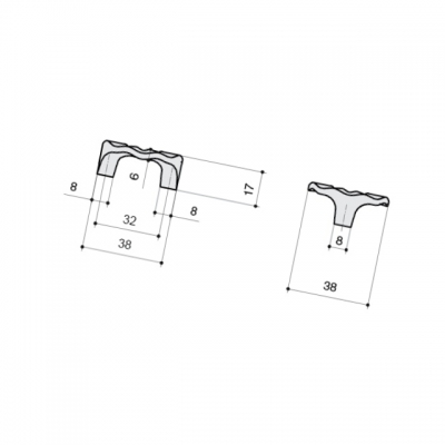 Ручка-скоба 32мм, отделка хром глянец WPO.608X.032.MMM02