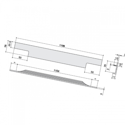 Ручка врезная 1196мм, отделка бронза темная 4080201196-94.1