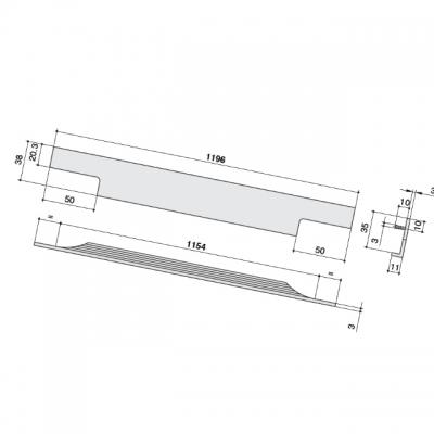 Ручка врезная 1196мм, отделка бронза темная 4080201196-94