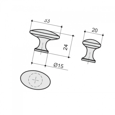 Ручка-кнопка, отделка серебро античное 10.801.B17N