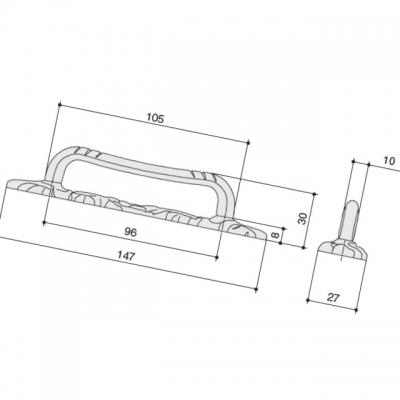 Ручка-скоба 96мм, отделка серебро античное 9.1359.0096.17N