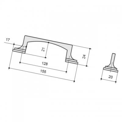 Ручка-скоба 128мм, отделка серебро античное 9.1335.0128.17N