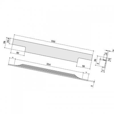 Ручка врезная 595мм, отделка алюминий анодированный 408020595-05.1