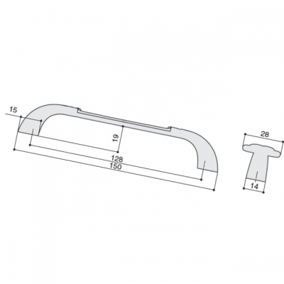 Ручка-скоба 128мм, отделка бронза темная + керамика M78.X01.G1.MB1G