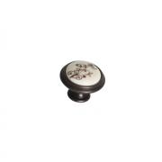 Ручка-кнопка, отделка бронза темная + керамика P88.Y01.G1.MB1G