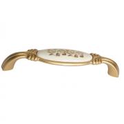 "Ручка-скоба 128мм, отделка золото матовое ""Милан"" + керамика M78.X01.H3.MR8G"