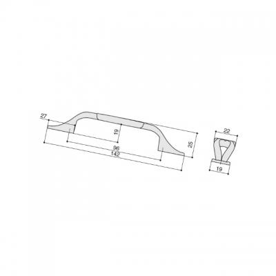 Ручка-скоба 96мм, отделка старое серебро с блеском + керамика M81.X01.G4.ME8G