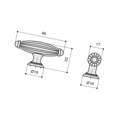 Ручка-кнопка, отделка бронза английская KB-M-3216-S-E