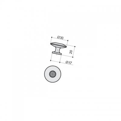 Ручка-кнопка, отделка серебро античное 10.747.B17N