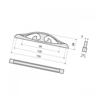 Ручка-скоба 128-096мм, отделка серебро античное 9.1348.128096.17N