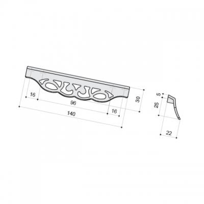 Ручка-скоба 128-096мм, серебро античное 9.1354.128096.17N