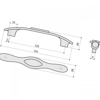Ручка-скоба 128мм, отделка серебро античное + вставка 9.1350.0128.17N-115