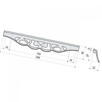 Ручка-скоба 192-160мм, отделка серебро античное 9.1354.192160.17N