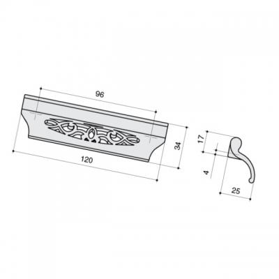 Ручка-скоба 96мм, отделка серебро античное 9.1340.0096.17N