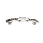 Ручка-скоба 96мм, отделка серебро античное + вставка 9.1350.0096.17N-118