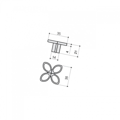 Ручка-кнопка, отделка серебро античное 10.824.B17N