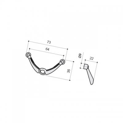 Ручка-скоба 64мм, отделка серебро античное 9.1273.0064.17N