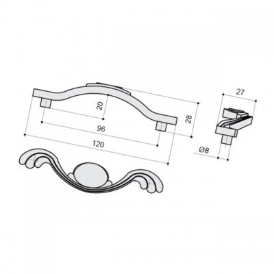 Ручка-скоба 96мм, отделка серебро античное 9.1275.0096.17N
