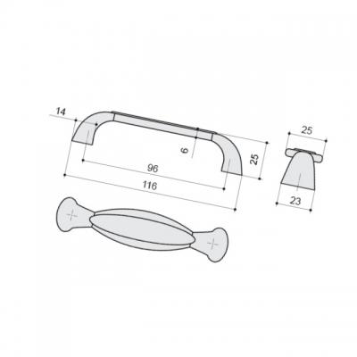 Ручка-скоба 96мм, отделка серебро античное + вставка 9.1331.0096.17N-107
