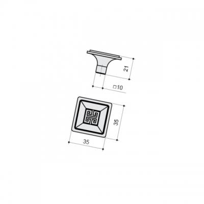 Ручка-кнопка, отделка серебро античное 10.820.C17N
