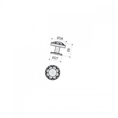 Ручка-кнопка, отделка серебро античное 10.719.B17N