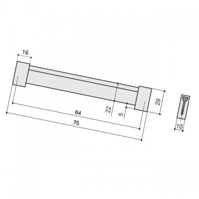 Ручка-скоба 64мм, отделка хром матовый лакированный 8.1067.0064.42-42