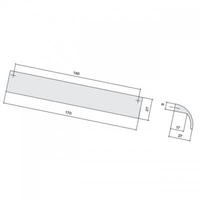 Ручка-скоба 160мм, отделка хром матовый лакированный 8.1019.0160.42