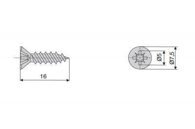 V234X164I Шуруп-саморез 4х16мм, головка потай, шлиц PZ2, отделка никель (за 1000штук)