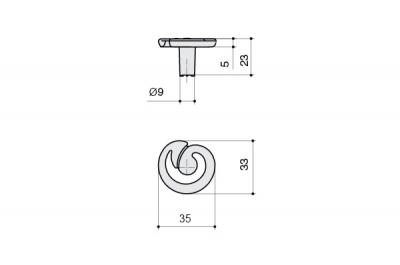 MC 24165Z0350B.25 Ручка-кнопка, отделка серебро старое