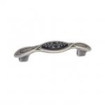 Ручка-скоба 96мм, отделка серебро античное + вставка 9.1350.0096.17N-115