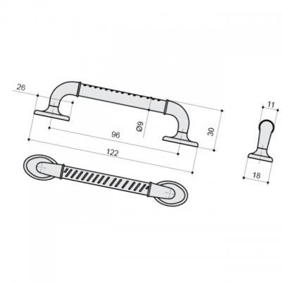 Ручка-скоба 96мм, отделка серебро античное 9.1337.0096.17N