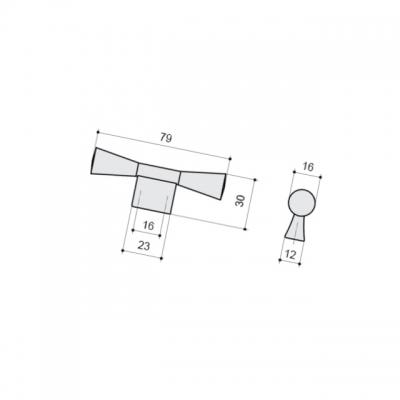 Ручка-кнопка 16мм, отделка серебро античное 9.1355.0016.17N