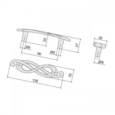 Ручка-скоба 96мм (правая), отделка серебро лунное EA036Z096D0.69